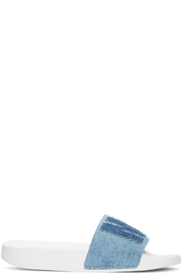 MSGM - Blue Denim Logo Patch Slide Sandals