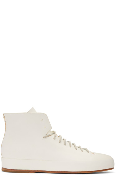 Feit - White Hand Sewn High-Top Sneakers