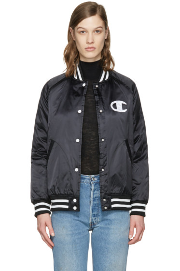 Champion Reverse Weave - Black Logo Bomber Jacket