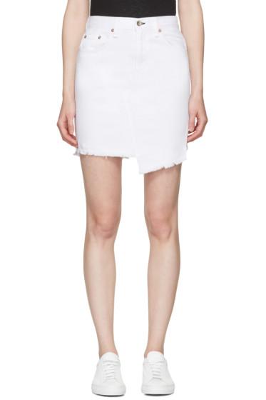 Rag & Bone - White Denim Dive Miniskirt