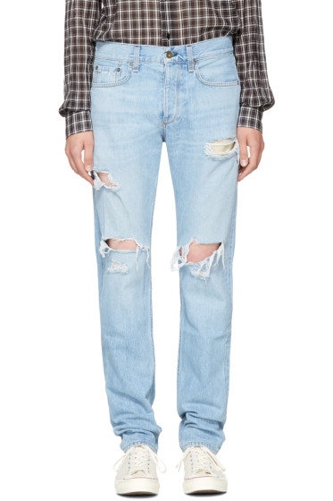 Rag & Bone - SSENSE Exclusive Blue Standard Issue Fit 3 Jeans
