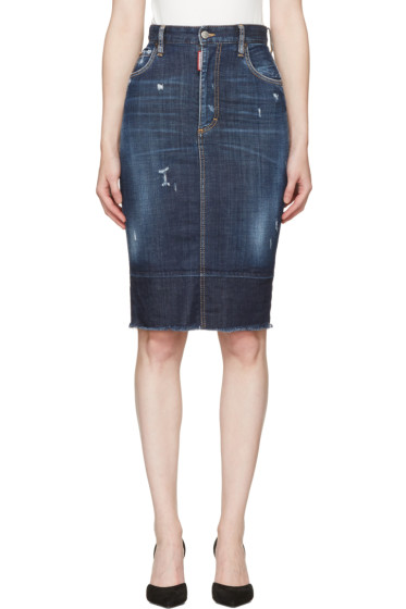 Dsquared2 - Blue Frayed Hem Skirt