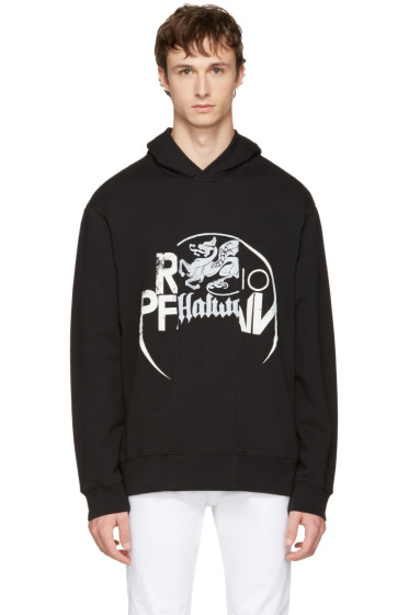 Maison Margiela - Black Panelled Graphic Hoodie
