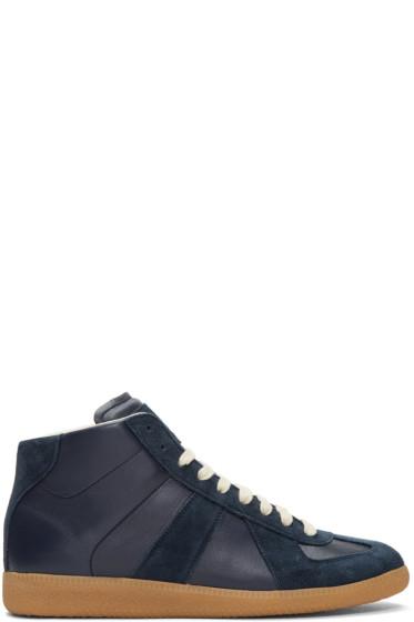Maison Margiela - Navy Replica Mid-Top Sneakers