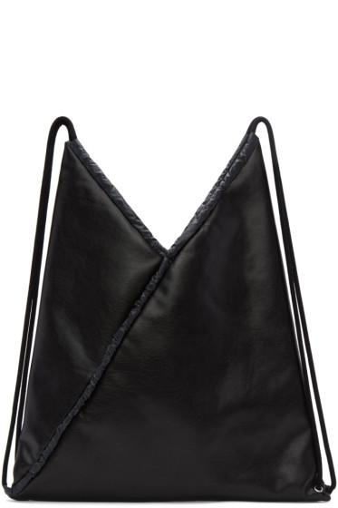 MM6 Maison Margiela - Black Faux-Leather Backpack