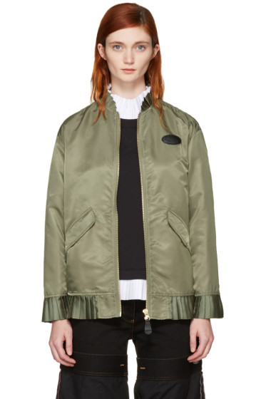 MM6 Maison Margiela - Green Ruffle Bomber Jacket