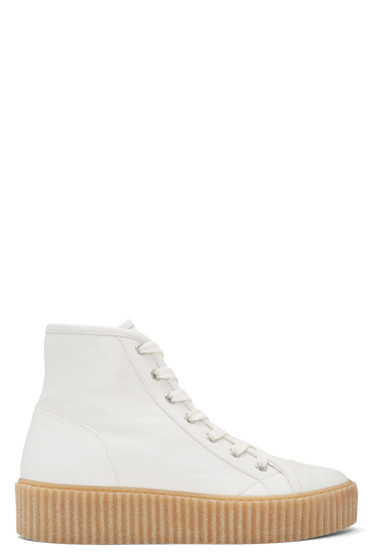 MM6 Maison Margiela - White Sheepskin High-Top Sneakers