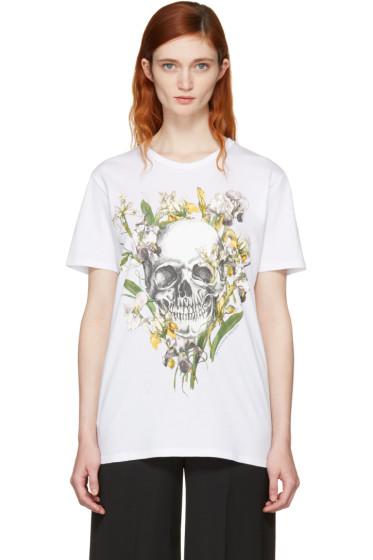 Alexander McQueen - White Iris Skull T-Shirt