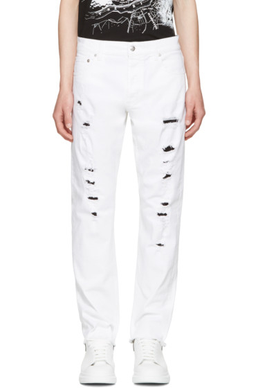 Alexander McQueen - White Distressed Jeans