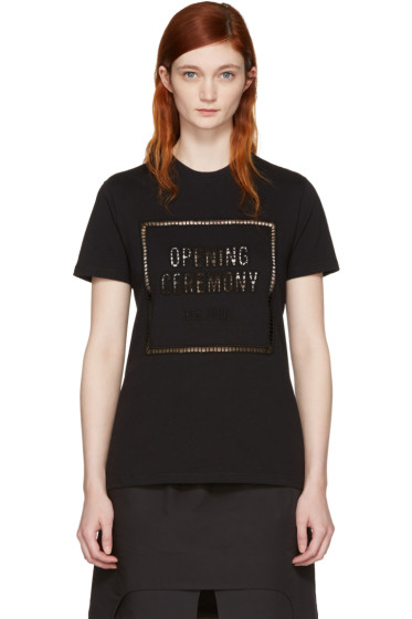 Opening Ceremony - Black Logo Eyelet T-Shirt