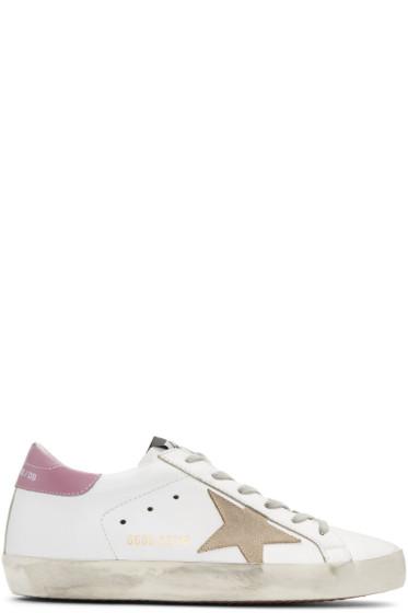 Golden Goose - White & Pink Superstar Sneakers