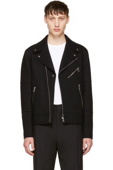 Neil Barrett - Black Raw Cut Wool Biker Jacket