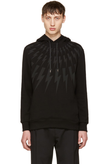 Neil Barrett - Black Fairisle Thunderbolt Hoodie