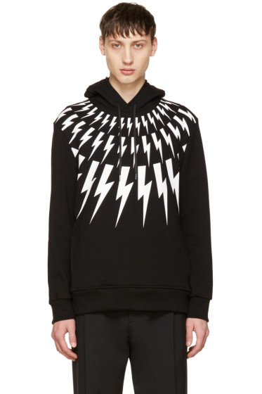 Neil Barrett - Black & White Fairisle Thunderbolt Hoodie