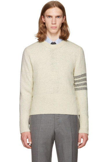 Thom Browne - White Classic Mohair Crewneck Pullover