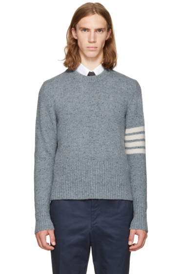 Thom Browne - Blue Classic Mohair Crewneck Pullover