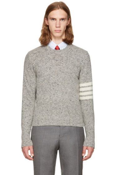 Thom Browne - Grey Classic Mohair Crewneck Pullover