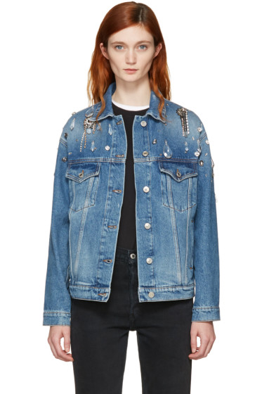 MSGM - Indigo Denim Embellished Jacket