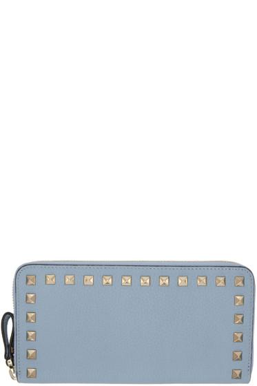 Valentino - Blue Rockstud Continental Zip Wallet