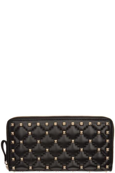 Valentino - Black Rockstud Spike Continental Zip Wallet