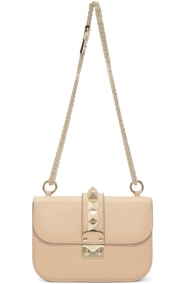 Valentino - Beige Small Rockstud Lock Bag