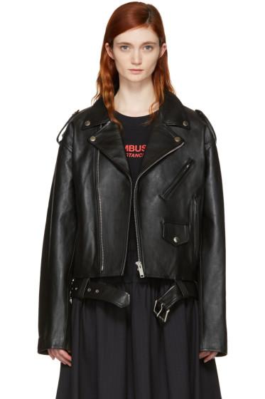 Ambush - Black Leather Cropped Biker Jacket