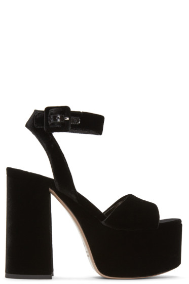 Miu Miu - Black Velvet Platform Sandals
