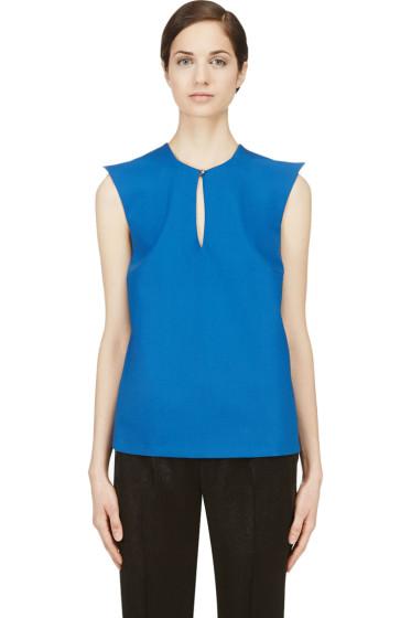 Mugler - Blue Wool Peaked Shoulder Blouse