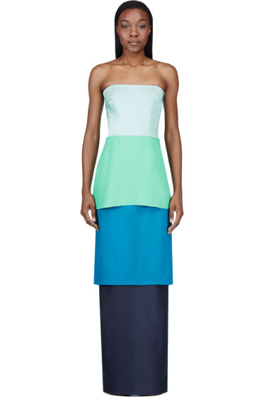 Roksanda - Blue Colorblocked Tiered Bustier Gown