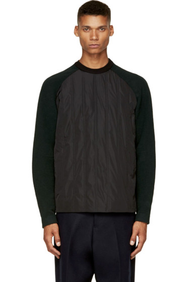 Juun.J - Black & Forest Green Insulated Pullover