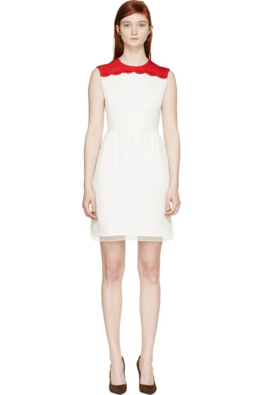 Giambattista Valli - Ivory & Red Embroidered Lips Dress
