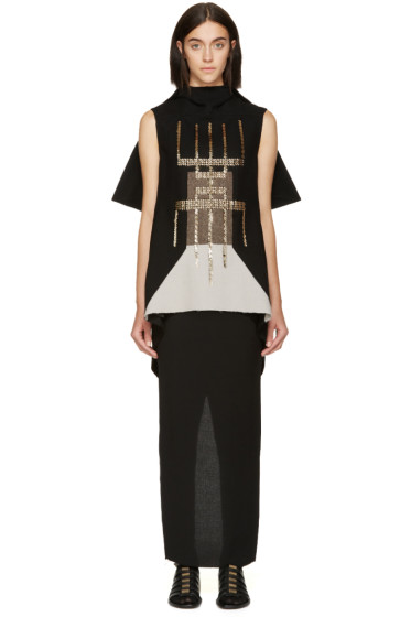 Rick Owens - Black Blossom Embroidered Tunic