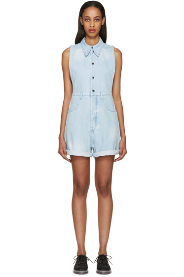 MM6 Maison Margiela - Blue Distressed Denim Romper