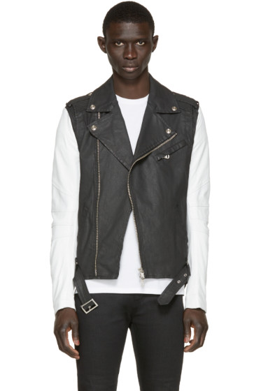 Pierre Balmain - Black Denim & Leather Biker Jacket