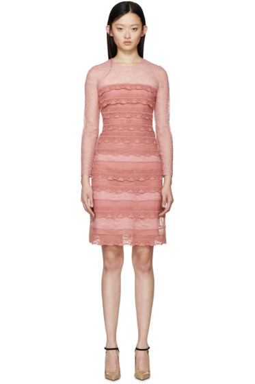 Burberry Prorsum - Pink Tiered French Lace Dress