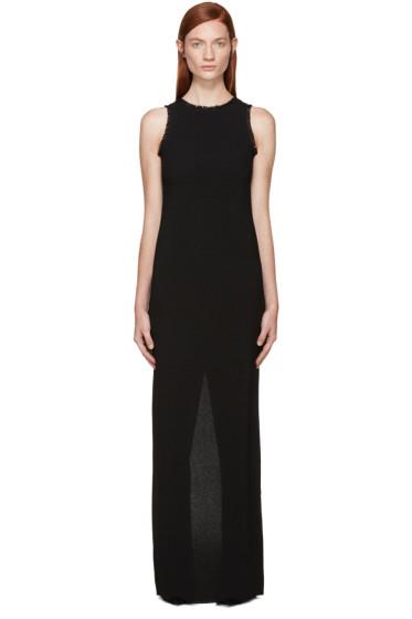 Nina Ricci - Black Fringed Crepe Long Dress