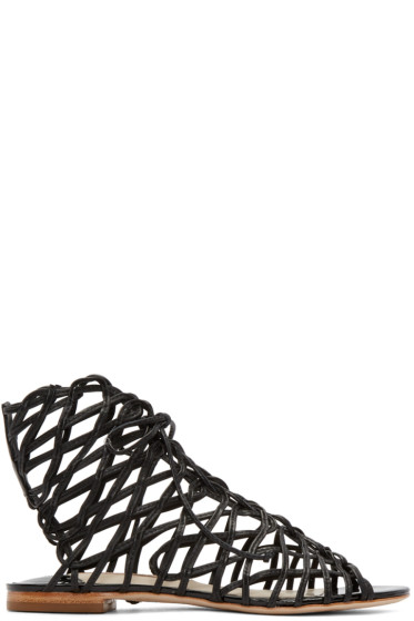 Sophia Webster - Black Leather Delphine Gladiator Sandals