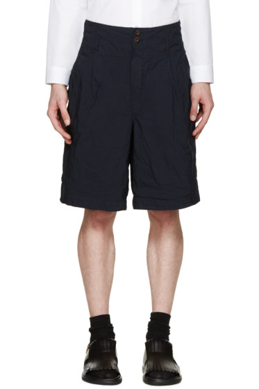 Kolor - Navy Creased Nylon Shorts