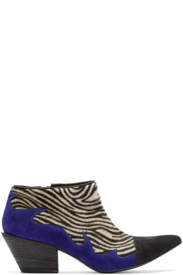 Haider Ackermann - Black & White Zebra Hulan Boots