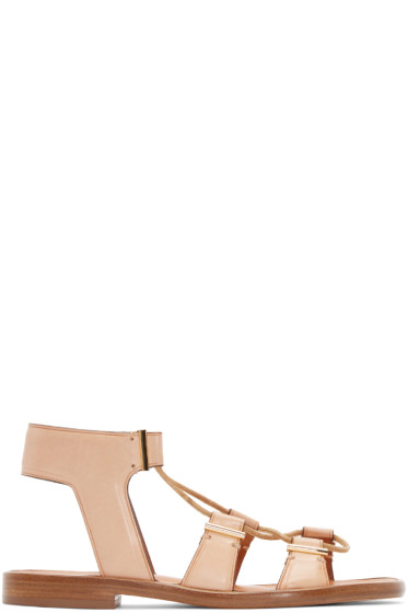 Rosetta Getty - Beige Leather Lace-Up Sandals