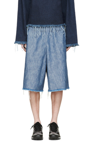 Marques Almeida - Blue Denim Tracksuit Shorts