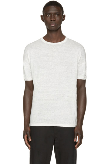 Isabel Benenato - Off-White Linen T-Shirt