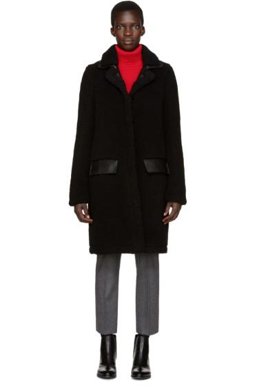 Carven - Black Faux Shearling Coat
