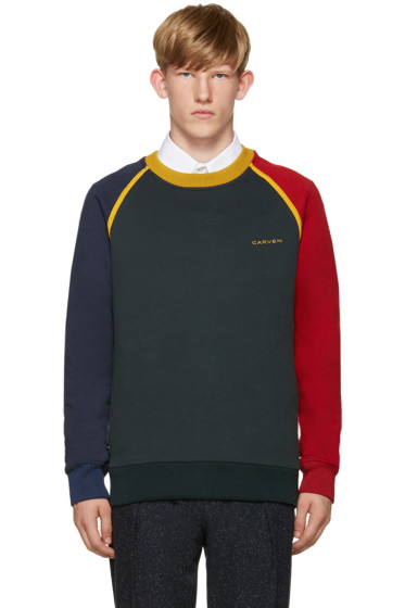 Carven - Green Colorblocked Sweatshirt