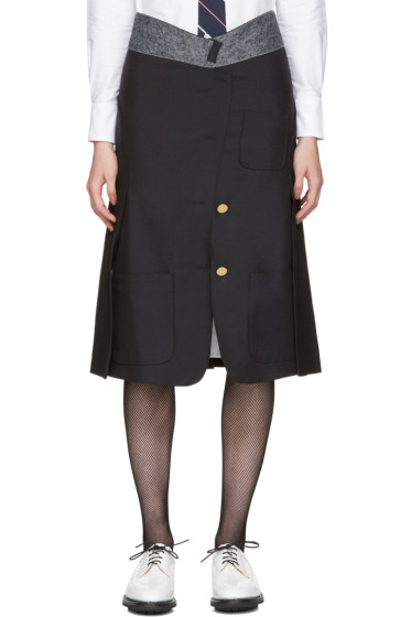 Thom Browne - Navy Reconstructed Sack Skirt
