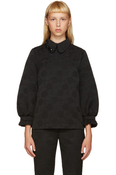 Simone Rocha - Black Beaded Collar Blouse