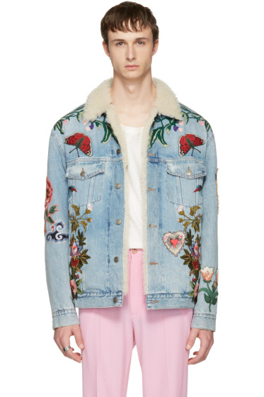 Gucci - Blue Embroidered Shearling Denim Jacket