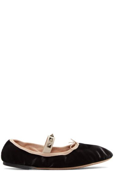 Valentino - Black Velvet Rockstud Ballerina Flats