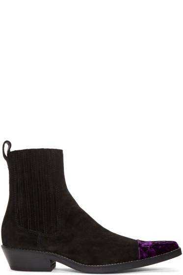 Haider Ackermann - Black Velvet Cap Toe Boots