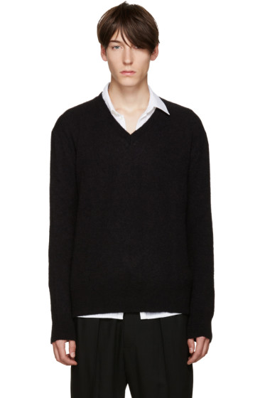 Haider Ackermann - Black Mohair V-Neck Sweater